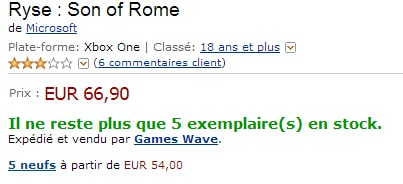 Ryse of Rome sur Amazon